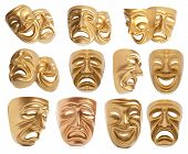 picture of pantomime  - Set of Comedy and  Tragedy theatrical mask isolated on a white background - JPG