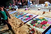 Making A Holy Week Carpet At Night, Antigua, Guatemala