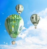 money bills Hot Air Balloon in the Sky