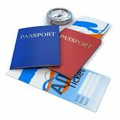 travel documents on an isolated white background