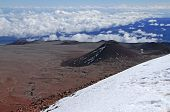 Craters, snow and peaks on the summit of Mauna Kea, Hawaii