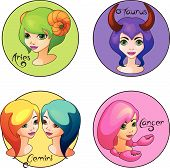 Cartoon Set of Zodiac Signs Aries, Taurus, Gemini and Cancer