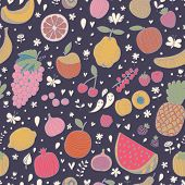 Tasty seamless pattern in dark colors made of fruits and berries. Lemon, redcurrant, apple, strawber