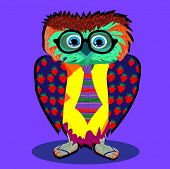 Cute Owl, cartoon drawing, cute illustration for children, vector illustrations (hipster symbol seri
