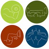 An image of a muscle building fitness icons.