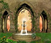 pic of fountain grass  - View of a medieval castle garden with with a butiful fountain in the middle - JPG