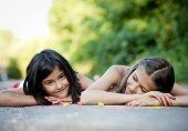 Two sisters having fun