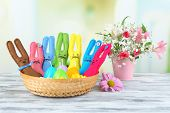 image of ear candle  - Funny handmade Easter rabbits in wicker basket - JPG