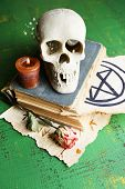Skull on old book, candle and dry rose  on color wooden background