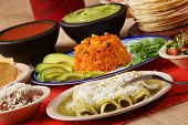 Traditional Mexican Green Enchilada Dinner