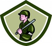 Military Police With Night Stick Baton Shield