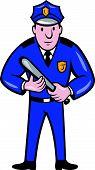 Policeman With Night Stick Baton Standing