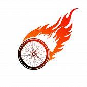 Burning symbol of a bicycle wheel