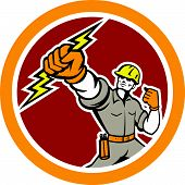 stock photo of lineman  - Illustration of an electrician construction worker power lineman wielding holding a lightning bolt set inside circle done in retro style on isolated white background - JPG