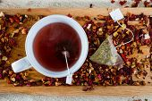 Deicious Caffeine-free Infusion Of Dried Fruit, Acai And Goji Berries And Spices.