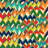 Multicolor zigzag line seamless pattern. Vector