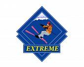 Adventure. Winter Sport Emblem.Freestyle Skiing.