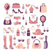 Woman accessories icon set