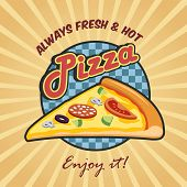 stock photo of hot fresh pizza  - Pizzeria advertising fresh hot enjoy poster with pizza cut slice vector illustration - JPG