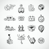 Logistic Hand Drawn Icons Set