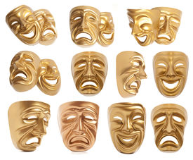 foto of pantomime  - Set of Comedy and  Tragedy theatrical mask isolated on a white background - JPG