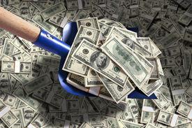 stock photo of spade  - studio photography of American moneys of hundred dollar - JPG