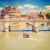 view of Ponte Vittorio Emanuele II and Castel Sant'Angelo, Rome, Italy