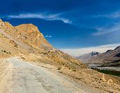 Road to Kee (Ki, Key) Monastery. Spiti Valley,  Himachal Pradesh, India