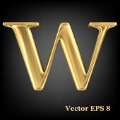 Golden shining metallic 3D symbol capital letter W - uppercase, vector EPS8