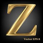 Golden shining metallic 3D symbol capital letter Z - uppercase, vector EPS8