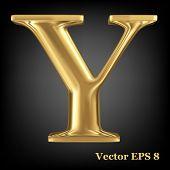 Golden shining metallic 3D symbol capital letter Y - uppercase, vector EPS8