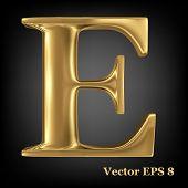 Golden shining metallic 3D symbol capital letter E - uppercase, vector EPS8