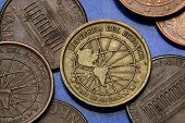 Coins of Ecuador. Globe with a map of the Americas depicted in the Ecuadorian centavo coins.