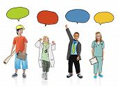 Group of Children in Dream Job Uniforms with Speech Bubbles
