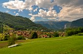 Swiss Village in Mountains