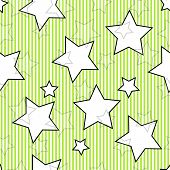 Green seamless striped background with stars