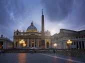 Long time exposure of St. Peter's Basilica at dusk. Vatican city, Rome, Italy