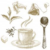 hand drawn tea icons in vintage style