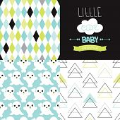 Little baby nursery poster design and little pastel seal seamless background pattern set collection in vector