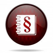 law red glossy web icon on white background