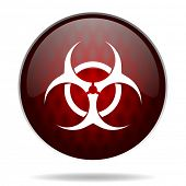 biohazard red glossy web icon on white background