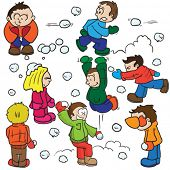image of snowball-fight  - snowball fight cartoon illustration - JPG