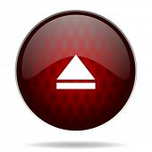 eject red glossy web icon on white background