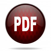 pdf red glossy web icon on white background