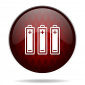 battery red glossy web icon on white background
