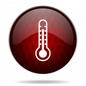 thermometer red glossy web icon on white background