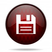 disk red glossy web icon on white background