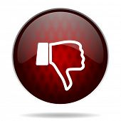 dislike red glossy web icon on white background