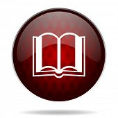 book red glossy web icon on white background