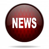 news red glossy web icon on white background